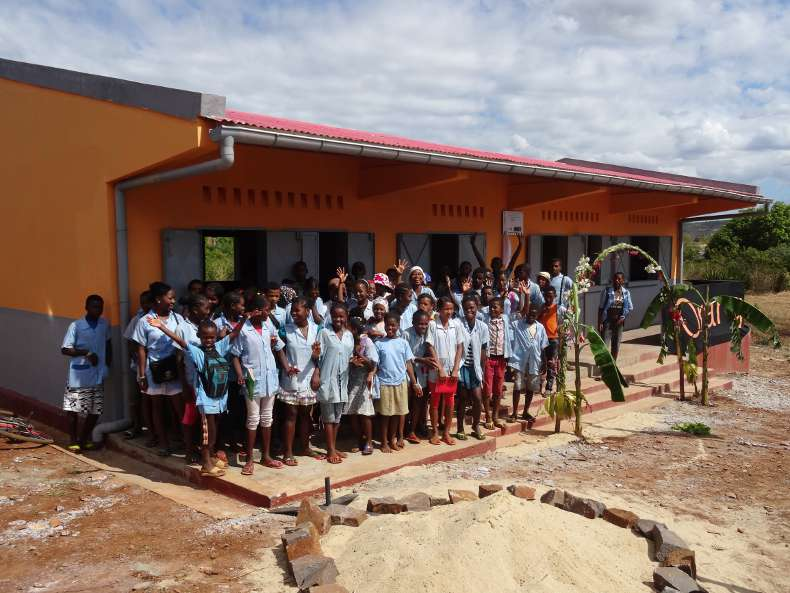 Schoolchildren in front of their village school, Madagascar