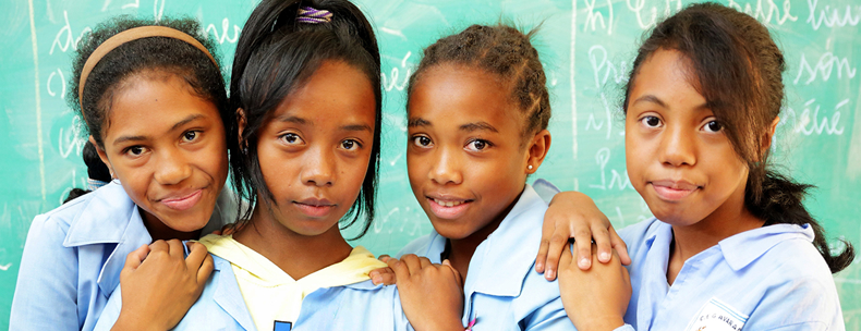 Girls in digital school in Madagascar